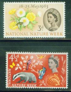 Great Britain Scott 393-4 MH* Flower Nature  1963 set