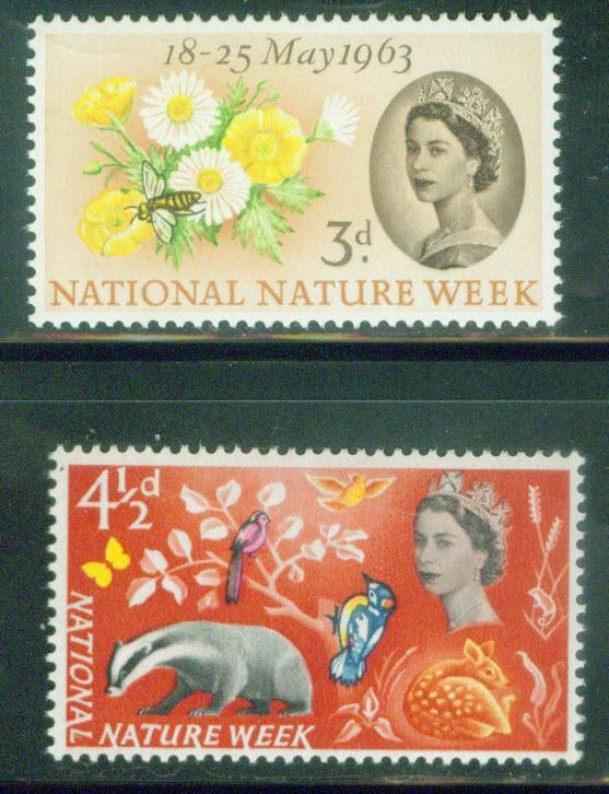 Great Britain Scott 393-4 MH* Flower Nature  1963 set