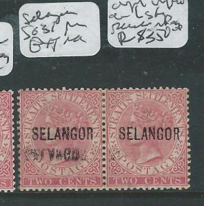 MALAYA SELANGOR  (P0308B2) QV 2C SG31 PR, LEFT STAMP DOUBLE OVPT ONE INV UNLISTE