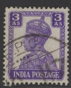 INDIA SG271b 1943 3a BRIGHT VIOLET USED