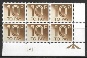 D95 10p 1982 Decimal Postage Due Cyl 4 UNMOUNTED MINT