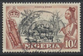 Nigeria  SG 79 SC# 90 Used  QEII 1953  Hides and Skins  see scan