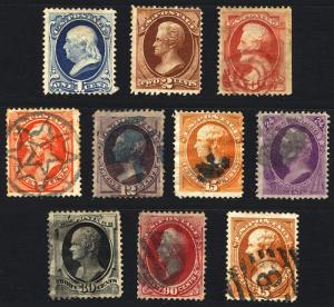 US Rare Stamp Lot  #146 thru #163 1870-73 Mint Used  Nice Cork Cancels 10 items
