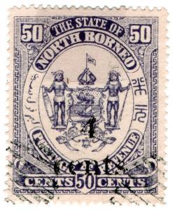 (I.B) British North Borneo Postal : 4c on 50c OP (State)