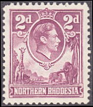 Northern Rhodesia # 33 mnh ~ 2p George VI ~ Giraffe, Elephants