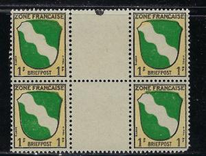 Germany - under French occupation - Scott # 4N1, mint nh, variation gutter pairs