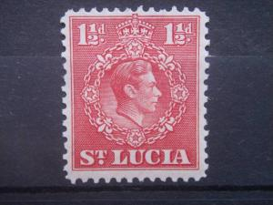 ST. LUCIA, 1943, MNH 1 1/2p, King George VI Scott 113