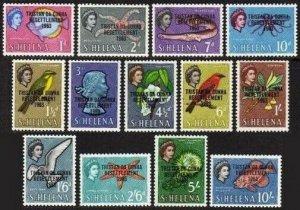 Tristan da Cunha 55-67,MNH.Michel 55-67. QE II 1963.Marine life Birds,Fish.ovpr.