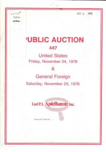 Apfelbaum: Sale # 447  -  United States & General Foreign...