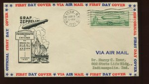 C18 FIRST DAY COVER OCT 2 1933 WITH HARRY IOOR & NY AEROPHILATELIC CLUB CACHETS!