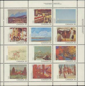 Canada #966a, Complete Set, Miniture Pane of 12, Never Hinged