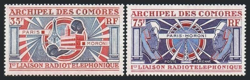 Comoro Isls C42-C43,MNH.Michel 139-140. Radio-telephone connection with France.