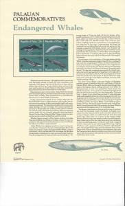 Palau Commemoratives Panel, Endangered Whales, Koror, FDC 1983