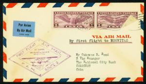 1931 FIRST FLIGHT FAM 6-123 ST. THOMAS TO NUEVITAS - C12 FRANKING (ESP#1959)