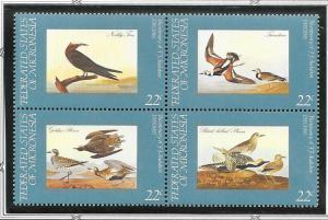 Micronesia MNH Block 25a-d John James Audubon Birds 1985