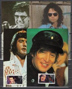 Germany, Scott cat. B666-B669. Rock & Roll Stars as Elvis on 4 Maximum Cards