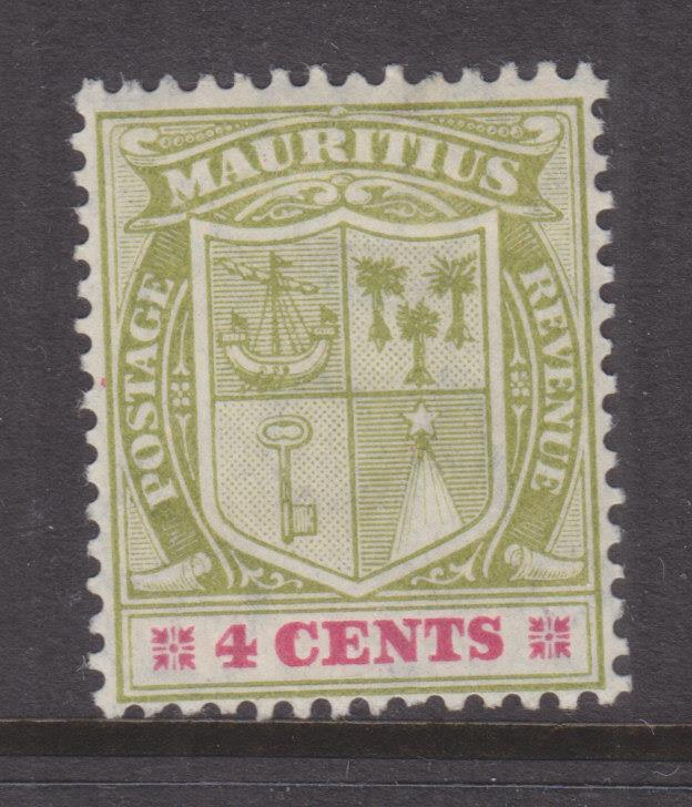 MAURITIUS, 1910 Arms, Mult. CA, 4c. Yellow Green & Carmine, lhm.