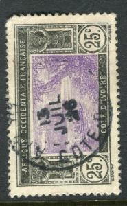 FRENCH IVORY COAST;  1920s early pictorial issue fine used 25c. value