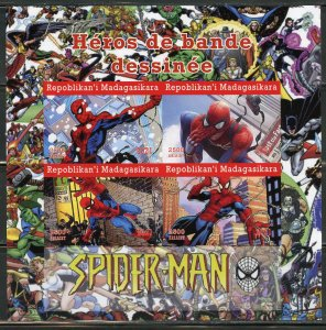 MADAGASCAR 2021 COMIC BOOK HEROES SPIDERMAN IMPERFORATE SHEET MINT NH