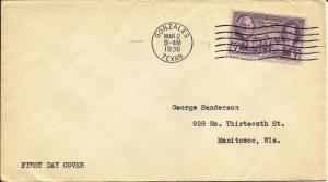 US 1936 Scott# 776 Gonzales, TX FDC