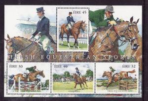 Ireland-Sc#1119a-unused souvenir sheet-margin is hinged, stamps NH-Horses-Equest