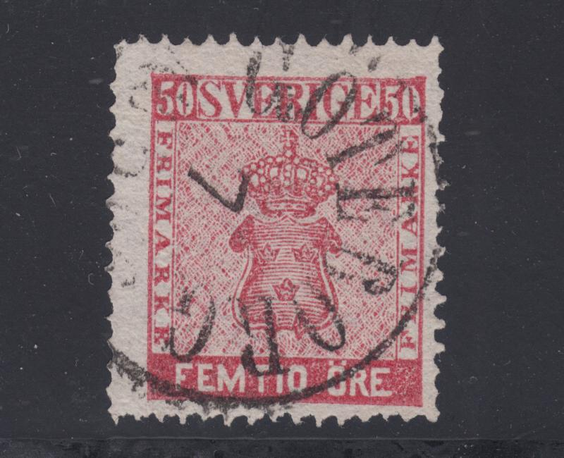 Sweden Sc 12 used. 1858 50ö rose Coat of Arms, perf 14