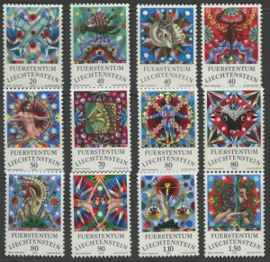 Liechtenstein 598-609 mint first year LH remainin NH  (2745 175.j)