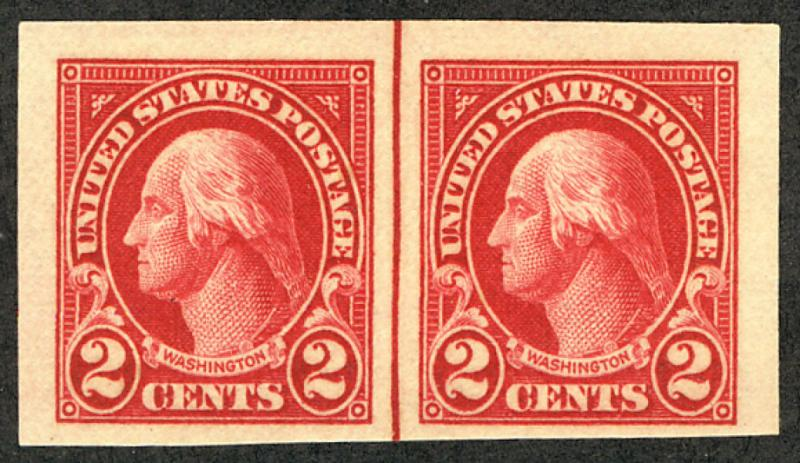 US #577 SUPERB JUMBO LINE PAIR, mint never hinged, super color, SUPER GEM PAI...