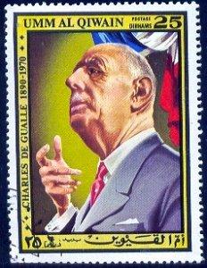 President Charles De Gualle, Umm Al Qiwain stamp used