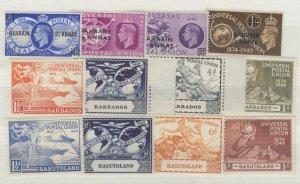 Bahrain Barbados Basutoland 1949 UPU Sets x 3 MNH J7110