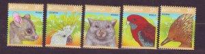 J23752 JLstamps 1987 australia mnh set mnh #1035a-e wildlife
