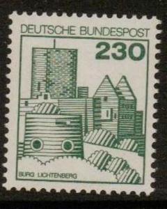 GERMANY SG1812b 1977 GERMAN CASTLES 230pf  GREEN   MNH