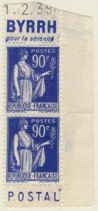 FRANCE - 1938 Paire avec Pubs BYRRH/CCP Yv.368a 90c Paix t.I gomme partielle