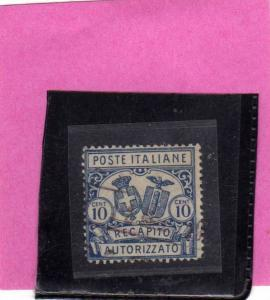 ITALIA REGNO ITALY KINGDOM 1928 RECAPITO AUTORIZZATO CENT. 10 PERF. DENT. 11 ...