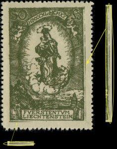 LIECHTENSTEIN - 1920 Mi.40 with extra lines in right & bottom margins - Mint**