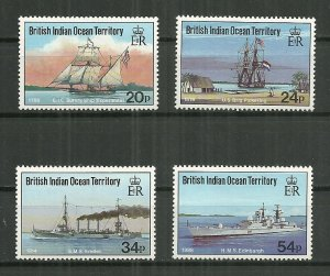 1991 British Indian Ocean Territory 115-8 complete Visiting Ships set MNH