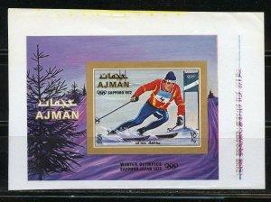 AJMAN SAPPORO  OLYMPICS   SKIING PROOF IMPERF SOUVENIR SHEETON UNGUMMED PAPER