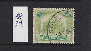 MALAYA SCOTT #34 ELEPHANTS 1904-10 WMK 3- $1 (GREEN/LT GREEN) REVENUE CANCEL