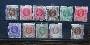 Leeward Islands KGV values including 1921 to 5d MM odd gum fault