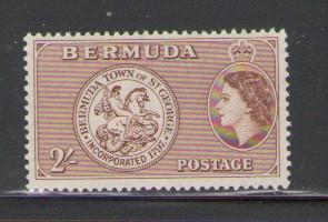 Bermuda Sc 158 1953 2/ QE II coin stamp mint