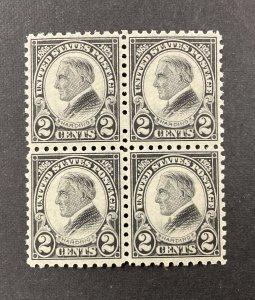 UNITED STATES #612, 1923 2 cent black, Harding block of 4. VF, MNH. CV $150.00.