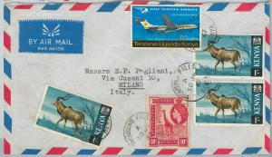 59514 -   KENYA - POSTAL HISTORY:  COVER to ITALY - 1967 ANIMALS Airplanes