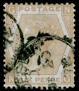 SG123, 6d pale buff plate 12, USED. Cat £350. NG