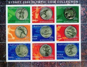 Kyrgyzstan 2000 Sydney Olympic Coin Collection Shlt(9) MNH