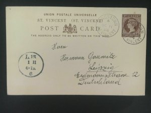 1894 St Vincent Postal Stationery Postcard cover to Leipzig Germany
