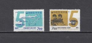 South Korea, Scott cat. 408-409. 5 Year Plan issue. Light Hinged.