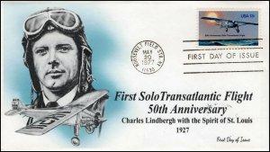 AO-1710,1977, First Solo Transatlantic Flight, Add-on Cachet, FDC, SC 1710,