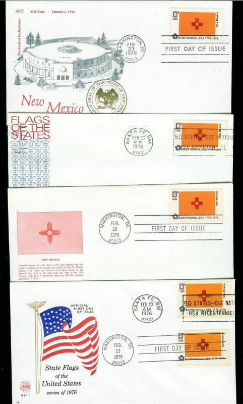 New Mexico Statehood Collection 14 Diff Flag FDCs Including Better Cachets! 1976