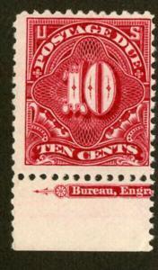 US Stamps # J42 10c Postage Due FVF OG NH PO Fresh Impt Single