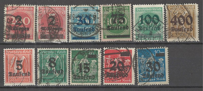 COLLECTION LOT # 4492 GERMANY 11 STAMPS 1923 CV+$21